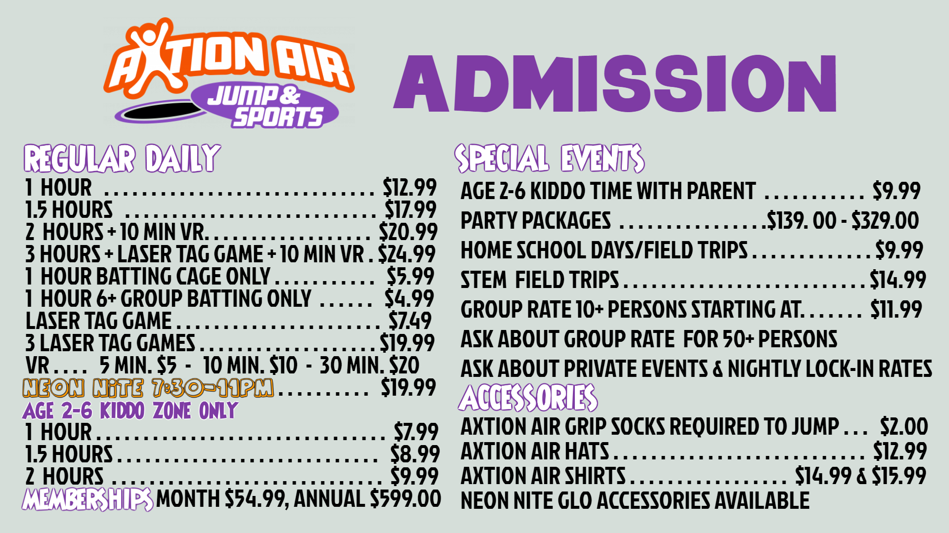 Admission Prices for Park