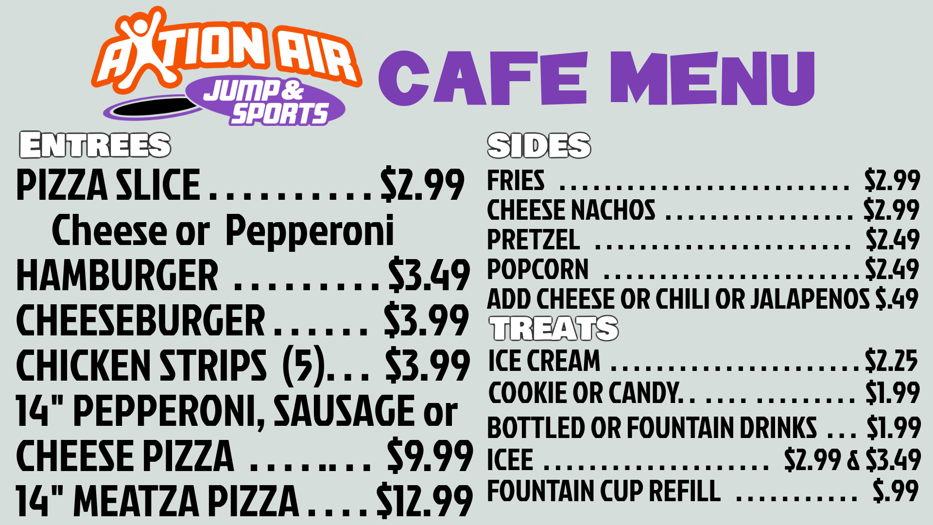 Cafe Menu for Jump Park